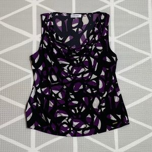 Calvin Klein Purple Black and White Top